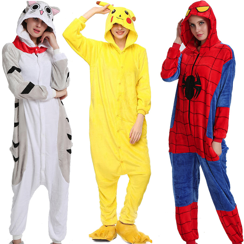 Flannel Kigurumi Onesies For Women Pajamas 2019 Winter Animal Cat Pyjamas  Adult Onesies Cosplay Pikachu Flannel Sleepwear
