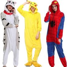 Flannel Kigurumi Onesies for Women Pajamas 2019 Winter Animal Cat Pyjamas  Adult onesies Cosplay Pikachu Sleepwear