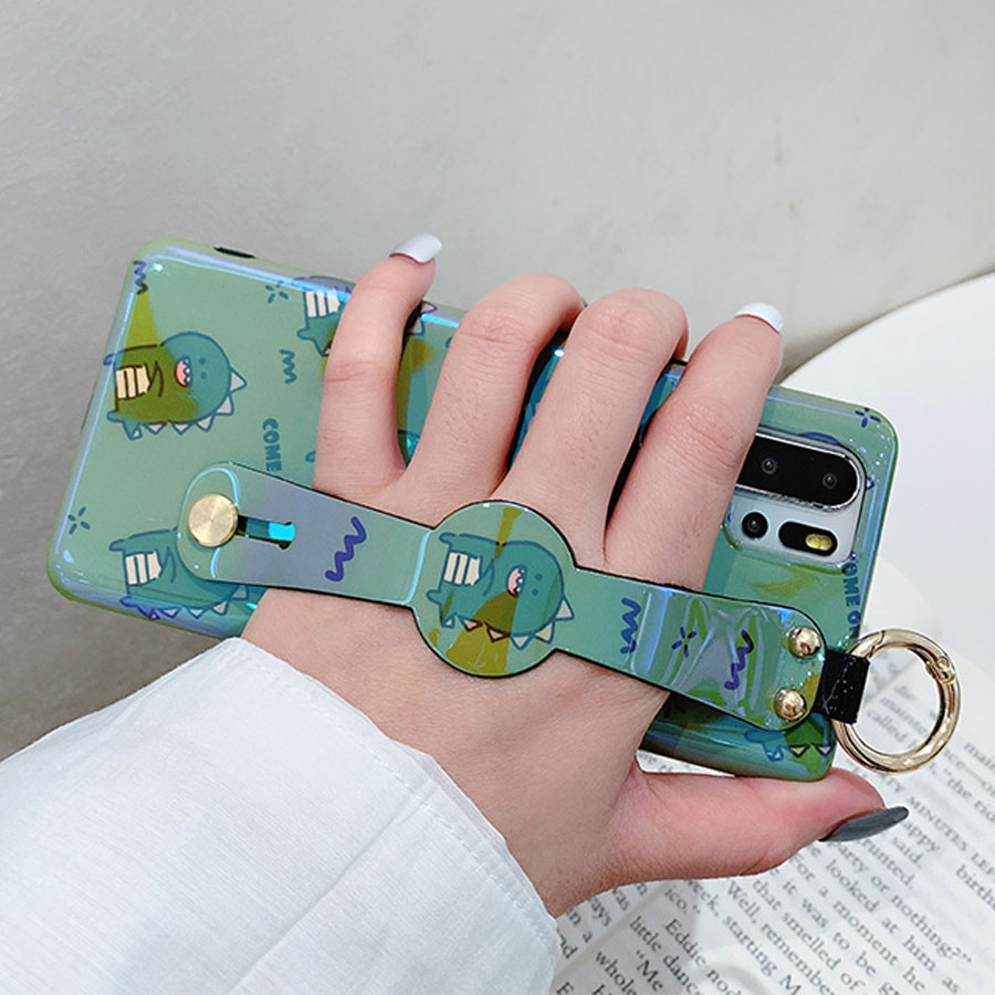 wristband tpu case for huawei mate 20 pro P30 P20 pro nova 4 3 case cover cute cartoon dinosaur blue ray soft silicon phone bag in Fitted Cases from Cellphones Telecommunications