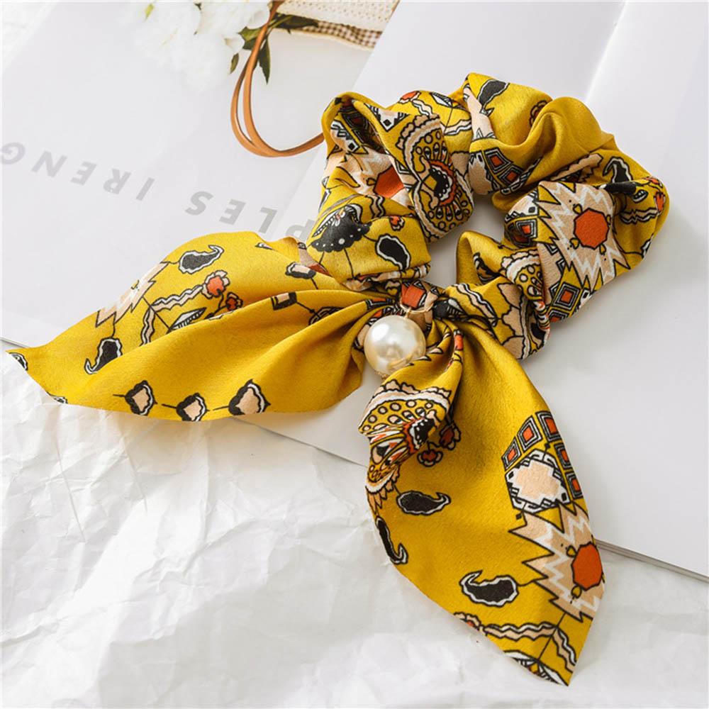 Nouveau mousseline de soie Bowknot élastique bandes de cheveux pour les femmes filles perle chouchous bandeau cheveux cravates élastique pour queue de cheval accessoires de cheveux 7