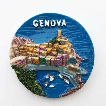 Lichi Italia Génova monumentos refrigerador etiqueta engomada magnética Paisaje Famoso imán de nevera de casa moderna decoración de la cocina