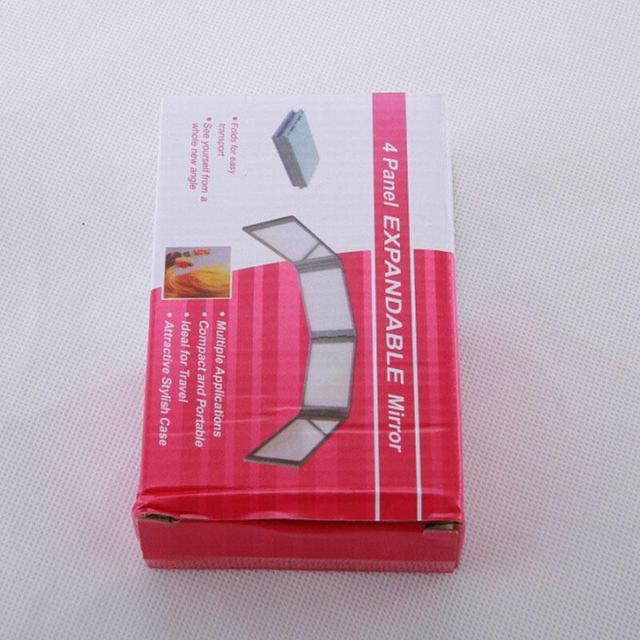 Niñas Espejo Compacto Cosmético Portable 4 Folds Panel Ampliable Con Estuche Negro/Rojo de Alta Calidad