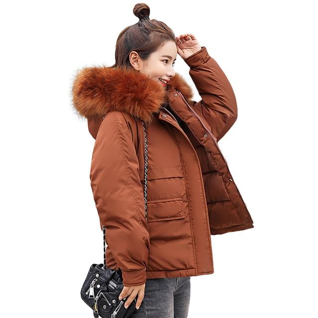 Nova Moda Plus Size Solto Sólida Marinha Grande Gola de Pele de Mulheres Casaco de Inverno de Espessura Para Baixo Parka Para Baixo Inverno Jaqueta de Algodão outwear 2019