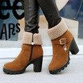 Nuevo 2016 Marca de Mujer de Medio Tacón Alto Botas Cortas de Tobillo Invierno Martin Nieve Botas Moda Calzado Cálido Zapatos Tacones de Arranque Tamaño 35-40