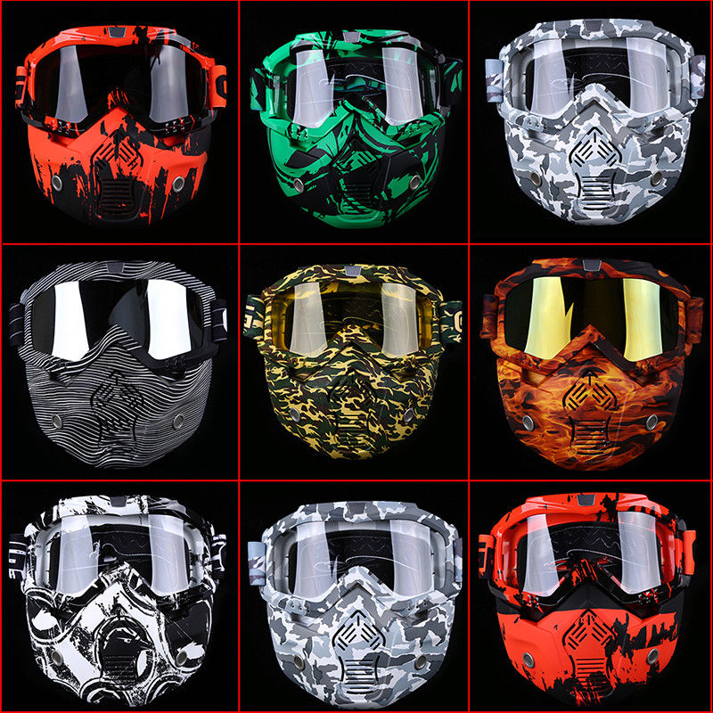 ATV Helmet Goggles Removable Face Mask detachable Motorcycle Dirt Bike Glasses Off Road -US