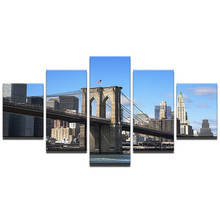 Modular Canvas Wall Art Picture HD Printed Modern Home Decor Painting 5 Pieces Brooklyn Bridge Landscape