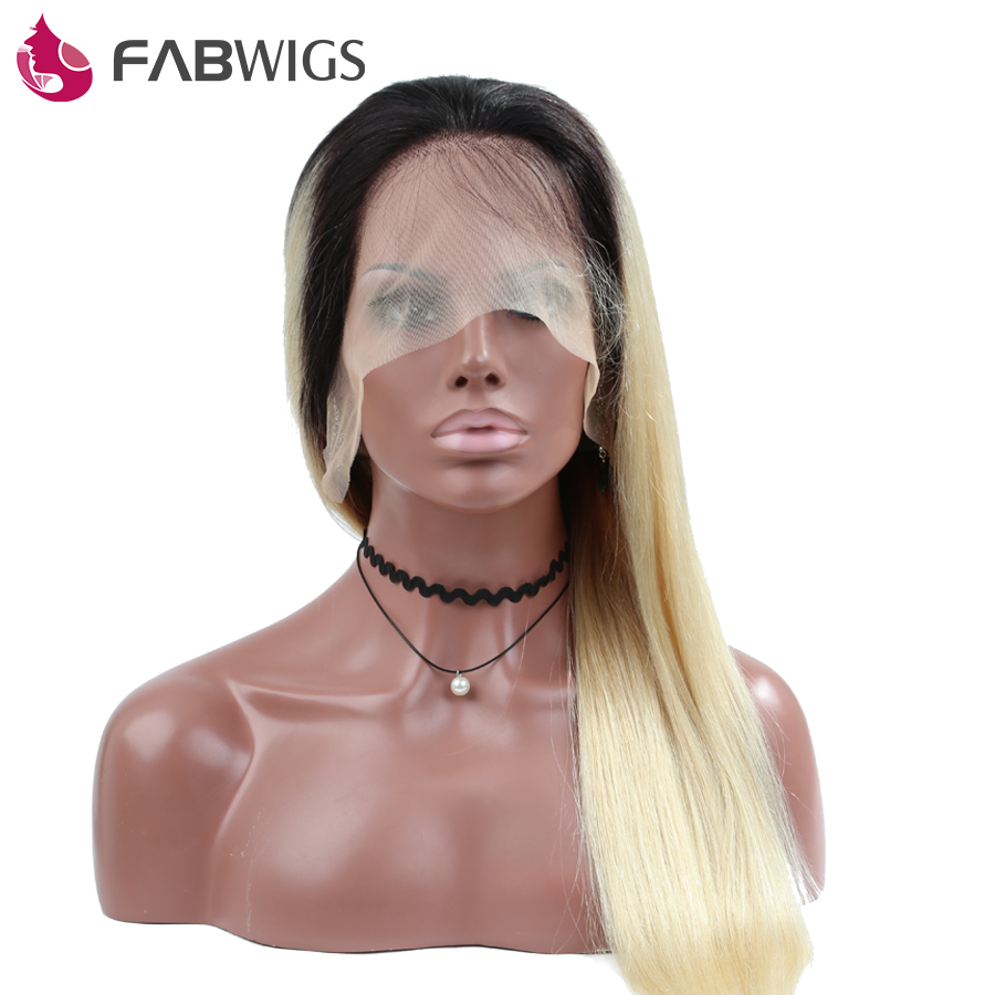 Fabwigs Full Lace Wig Silky Straight 130 Density Ombre Blond 1B 613 Color font b Human