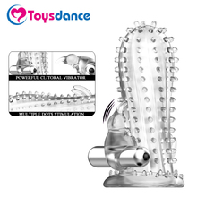 Toysdance Multiple Dots Penis Sleeves With Rabbit Vibrator Sex Toys For Adult Couple Vibrating Dildo G-spot/Clitoral Condoms