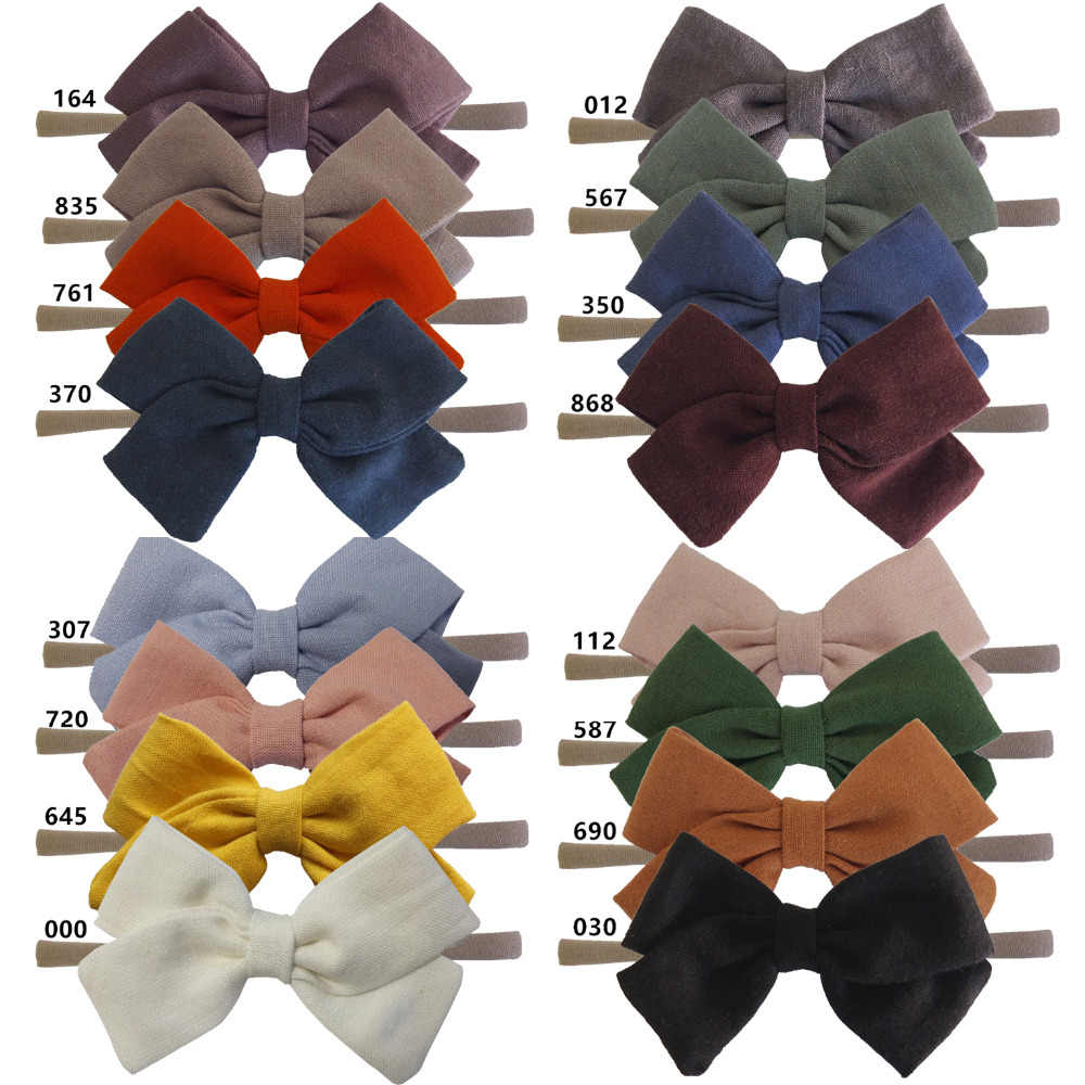 4 PCS Kids Girls Fabric Bows Headbands Hair Bow Elastic Hair Bands Soft Thin Nylon Headbands Cotton Fabric Bow Hair Accessories