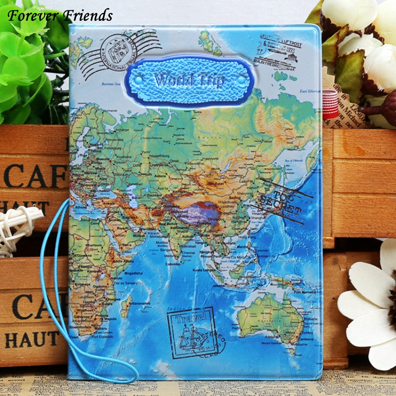 Foreverfriendsfashion pu lear passport holder world map travel foreverfriendsfashion pu lear passport holder world map travel passport cover case brand passport holder documents folder bag in card id holders from gumiabroncs Image collections