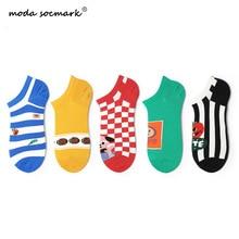 Moda Socmark Brand 2019 Summer Happy Socks Women Literary Fashion Trend Funny Cartoon Casual Ankle For Female