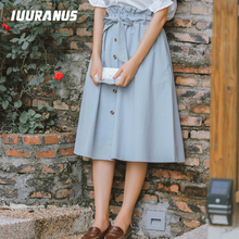 IUURANUS Single-breasted High Waist Cotton Midi Women Skirts With Pocket 2019 Summer Long Solid color Skirt women bow skirt