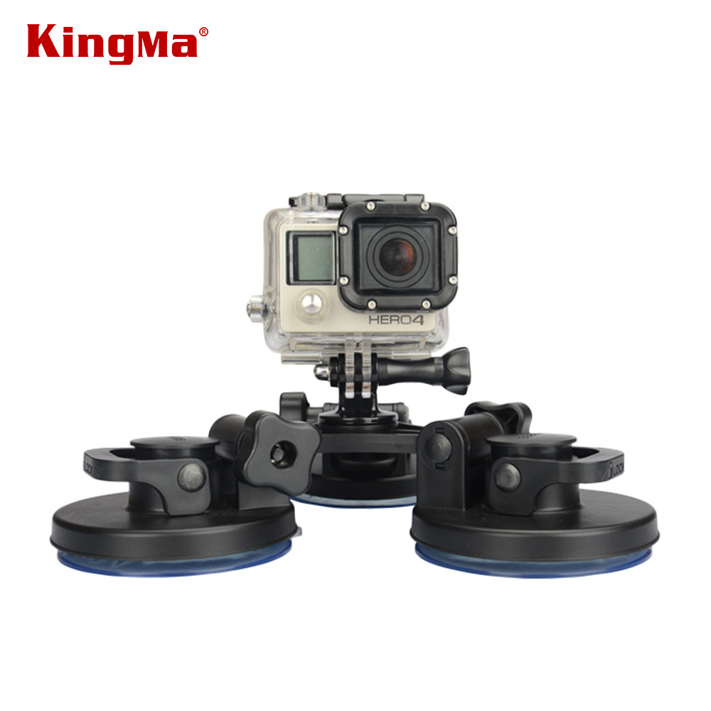 KingMa Low Angle Removable Suction Cup Tripod Mount 3x Suckers Fixation for Surfboard Car For Gopro Hero 5 2 3 3+ 4 Camera DV FS justone 3d printing car 3 suction cup holder mount for gopro hero 4 1 2 3 3 sj4000 black page 5