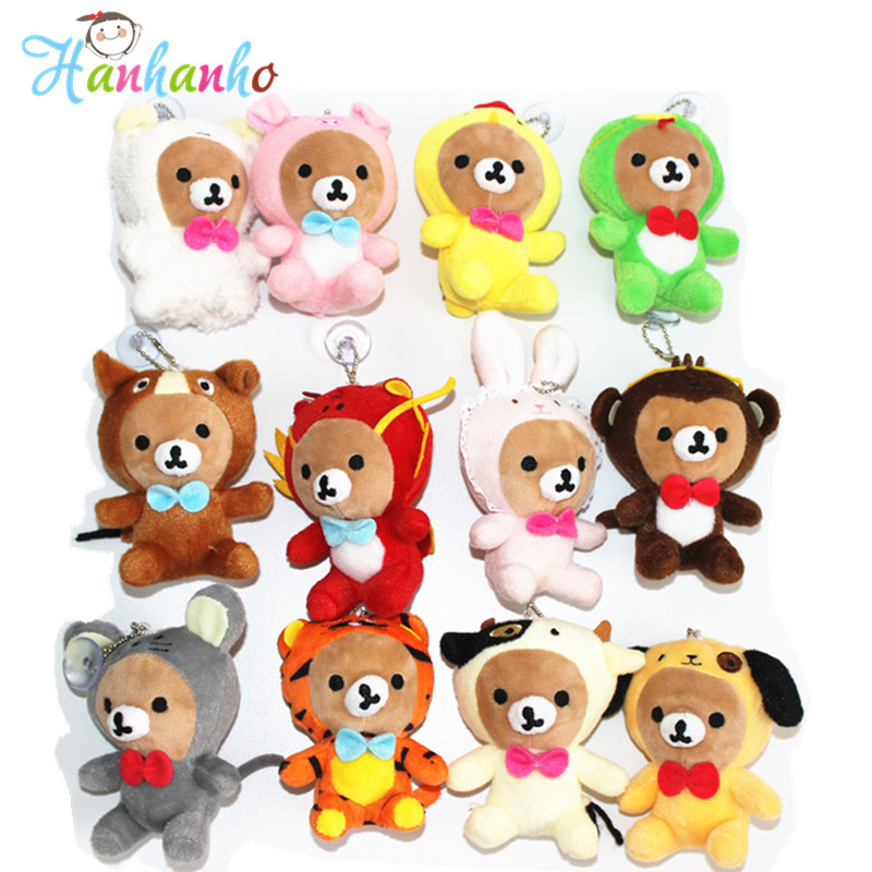 ФОТО 12pcs/Set 12cm Adorable Rilakkuma Plush Doll Pendant Kawaii Stuffed Animal Toy Key Ring  Small Promotion Gift
