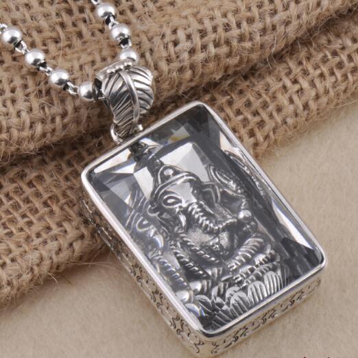 купить Handmade 100% 925 Silver Ganesh Buddha Pendant Necklace Sterling Ganesa Wealth Buddha Pendant Necklace Elephant Buddha Amulet по цене 1949.34 рублей