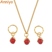Anniyo Stone Jewelry Sets for Women Girls Micronesia Marshall Gold Color Trendy Island Accessories #141706