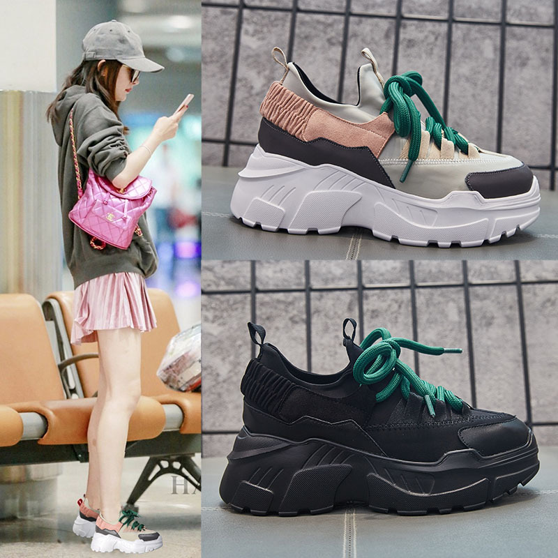Модная обувь на шнуровке в сдержанном стиле Для женщин на платформе вулканическая обувь Повседневное Швейные дышащие кроссовки на платфор...