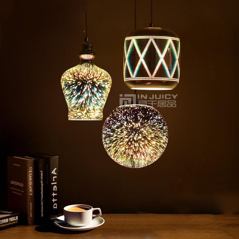 ФОТО Modern E27 LED Glass 3D Reflector Fireworks Ball Ceiling Light Lamp Fixtures Droplight Chandeliers Home Bedroom Hall Bar Decor