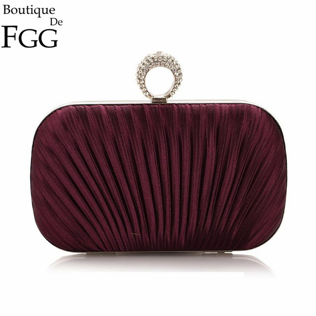 Women Famous Brand Knuckle Box Crystal Rings Metal Hard Case Evening Bag Wedding Bridal Purple Ruched Satin Clutch Handbag Purse