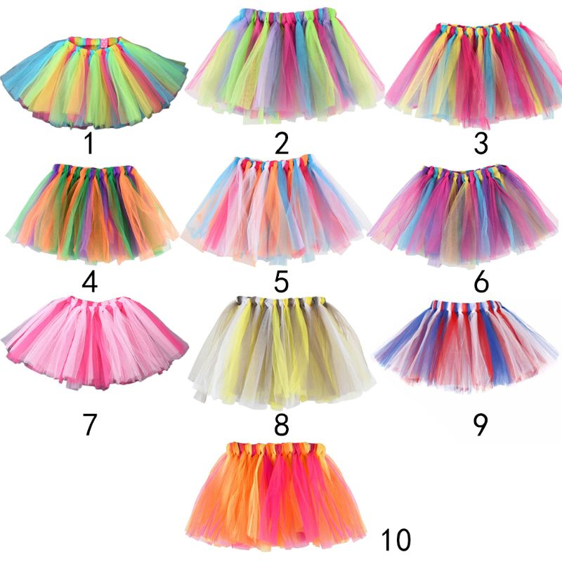 10 Colors Girls Ballet Dance Mini Tutu Petticoats Hand Woven Contrast Rainbow Colored Striped Patchwork Tulle Party Pettiskirt