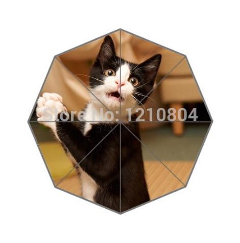 Mote Design Paraply Tilpasset morsom svart og hvit katteparaply for - Husholdningsvarer