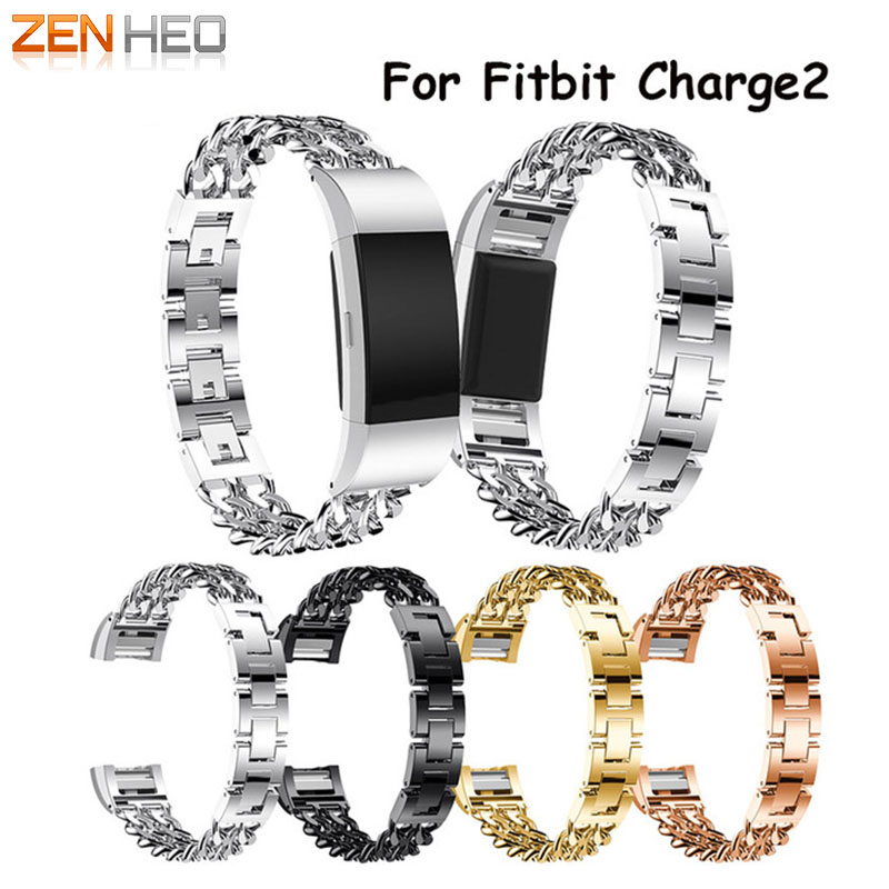 ZENHEO New Cowboy Chains Watchband Stainless Steel Bracelet Band For Fitbit Charge 2 Watch Band Wristband Metal Smart Watch Band quality bracelet stainless steel strap 18mm for fitbit charge 2 smart watch metal band with adapter
