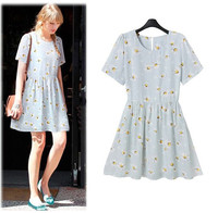 2015 European Autumn Summer Sweet O Neck Daisy Printed Dress Women Casual Wild Preppy Style High