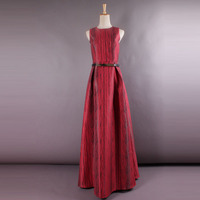 2017 Newest Spring And Summer Fashion high quality Red Black Stripe Sleeveless Slim Waist Puff Formal Classical Long Dress