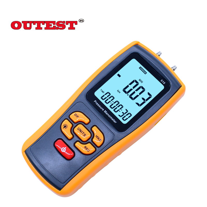 Digital Portable LCD display Pressure manometer GM510 50KPa Pressure differential manometer pressure gauge benetech gm510 2 6 lcd handheld pressure manometer orange black 4 x aaa
