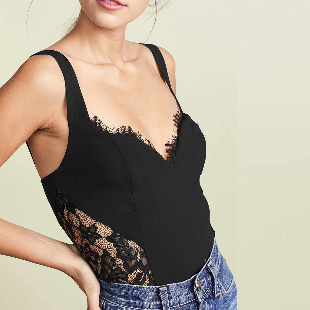 Womail Lace Design Fashion Black Debardeur Femme Polyester Material V-Neck Sleeveless Sexy Tank Tops Women 19APR29