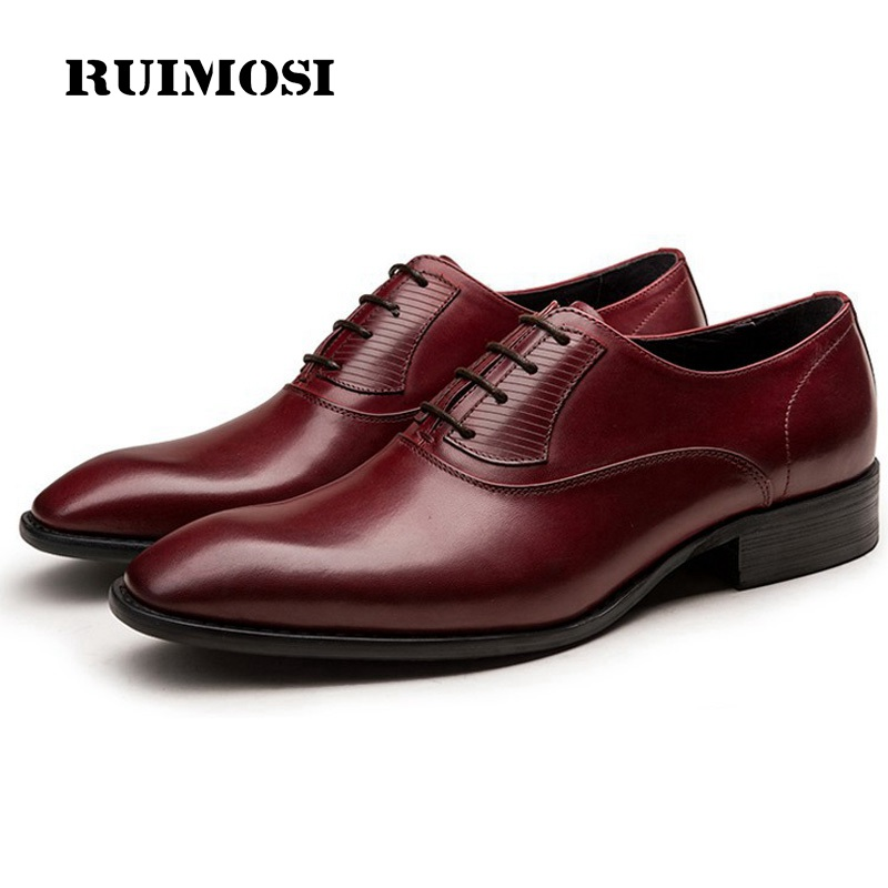 RUIMOSI Italian Designer Man Runway Shoes Genuine Leather Male Bridal Oxfords Pointed Toe Men's Dress Flats For Wedding AD97