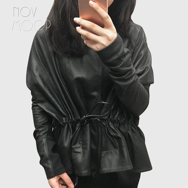 Feminino preto couro genuíno corrigido grão pele de cordeiro casacos de couro jaqueta gravata cintura elasticized rib malha painel na manga lt2477