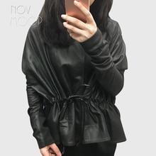 Women black genuine leather corrected grain lambskin leather coats jacket tie waist elasticized rib knit panel at sleeve  LT2477 layered ruffle sleeve rib knit tee