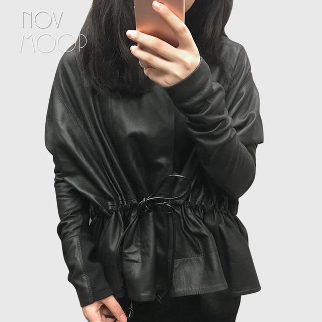 Women Black Genuine Leather Corrected Grain Lambskin Leather Coats