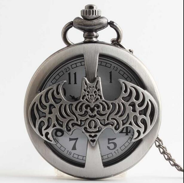 New Arrival High Quality Dark Gray Steampunk Titanium Steel Batman Pocket Watch Necklace Mens/Womens Jewelry Promoations KJK635