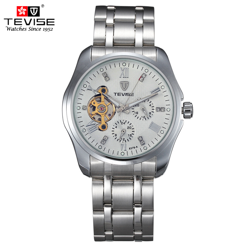 TEVISE Automatic Self-Wind Watches Tourbillon Stainless Steel Business Silver Watch Men Diamond Mechanical Clock 8379 tevise men automatic self wind gola stainless steel watches luxury 12 symbolic animals dial mechanical date wristwatches9055g