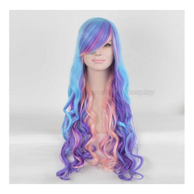 Seablue Pink and Purple Curly Cosplay Wig for Stars Free Shipping for Halloween and Christmas