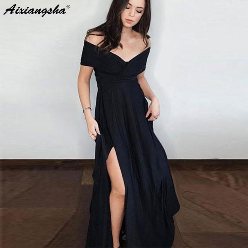 Elegant Off the Shoulder V-Neck Long Evening Party   Dress   with Slit A-Line Chiffon Black   Prom     Dress