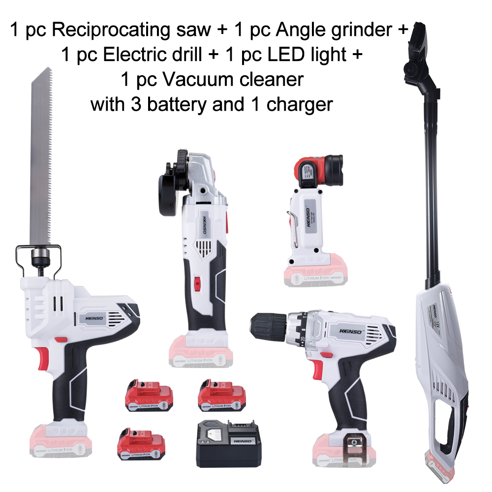 5 Piece KEINSO 12V Lithium Ion Cordless Power Tool Combo Kit Saw Angle grinder Drill LED