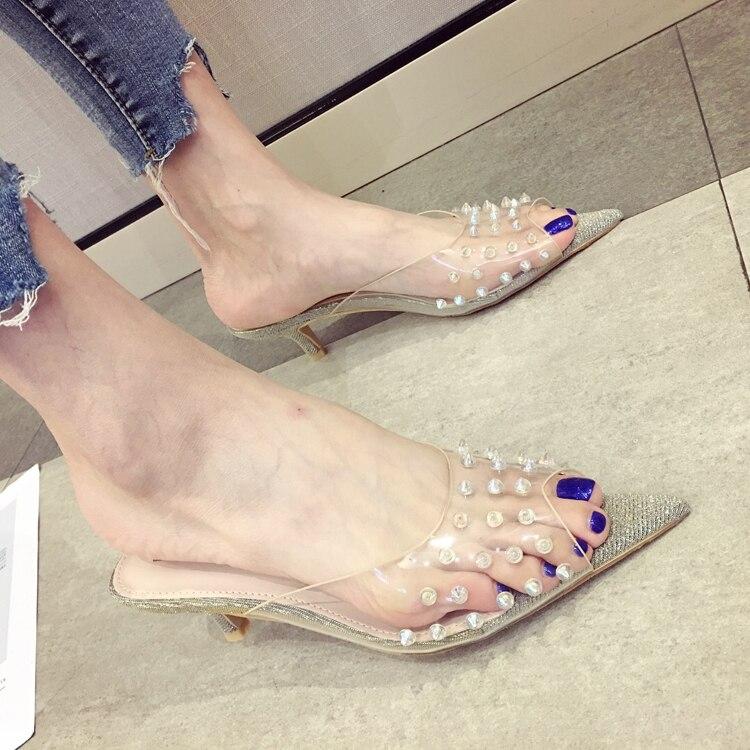 4ba60fde57ac Sexy clear PVC Jelly Sandals Crystal peep toe Transparent kitten ...