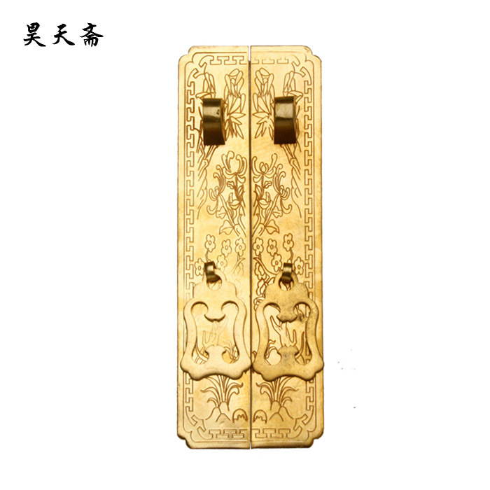 ФОТО [Haotian vegetarian] antique Ming copper fittings * copper door handle straight Chinese decoration accessories HTC-069