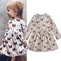 Ins * 2017 новорожденных девочек хлопок платье фокс pattern полный рукавом длиной до колен дети весна осень платья 1-5Y моды бесплатно доставка