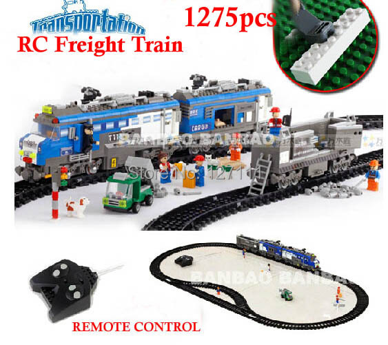 8228 Remote Control toys Freight Train 1275pcs RC Transport Plastic Model Building Block Sets Educational DIY Bricks Toys