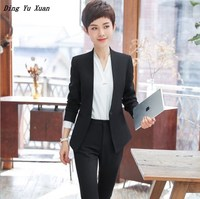 Blazer and Pant 2 Piece Set Outfit Womens Formal Black Blue Pants Suits Business Office Women Slim Fit Career Suits with Pants