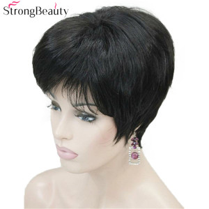 Image 2 - Strong Beauty Short Synthetic Straight Wigs Heat Resistant Black Hair For Women