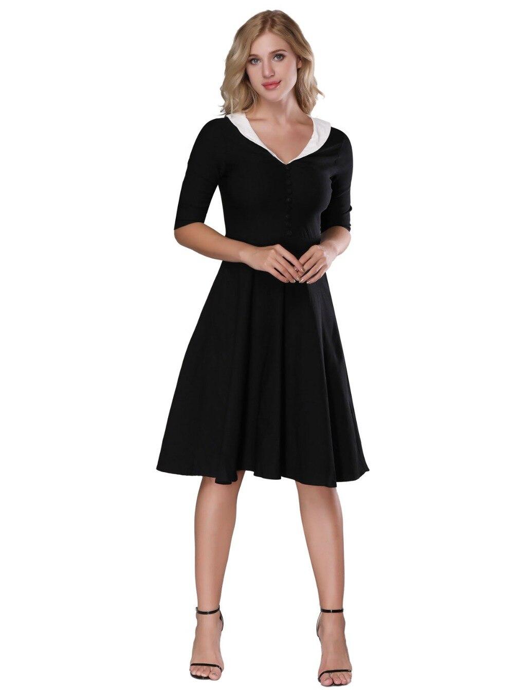 1950 Vintage Dresses For Women Fashion Ladies Cape Collar Retro ...