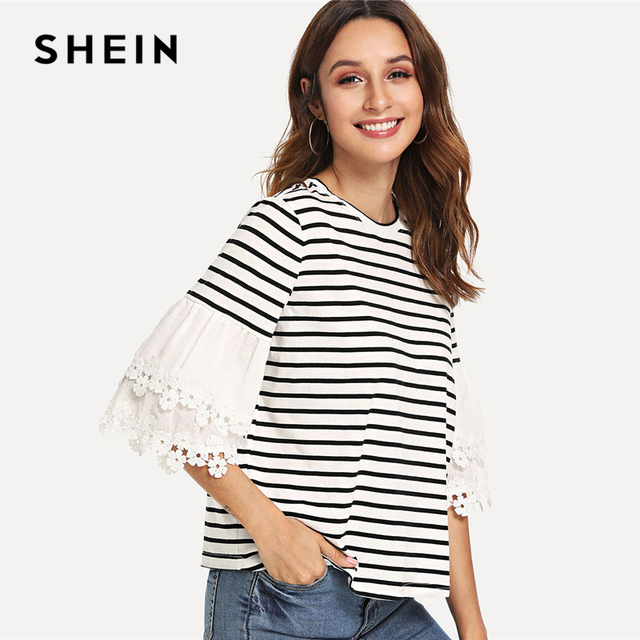 ff4377f43c9 SHEIN Black and White Casual Floral Lace Applique Layered Flounce Sleeve  Striped O-Neck Tee Summer Women Going Out T-shirt Top