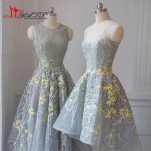 db1e186f1c4 2017 Best Selling Amazing Dust Grey Vintage Arabic Custom Made Yellow  Flower Formal Evening Prom Dresses