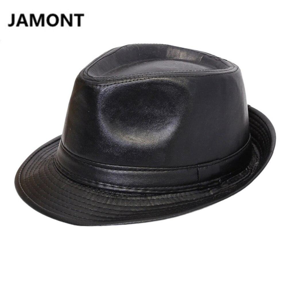 2019 Mode Herbst Winter Männer Frauen Klassische Pu Leder Fedora Hut Britischen Stil Panama Bowler Hut Cowboy Gentleman Casual Stil