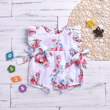 UK Newborn Baby Girl Flower Ruffle Romper Jumpsuit Outfit Clothes 0-18M